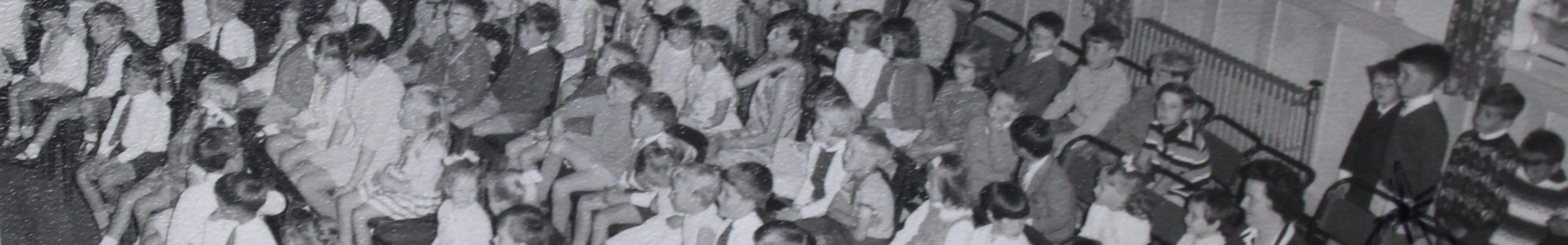 A black and white photo of All Saints Sunday School in 1967